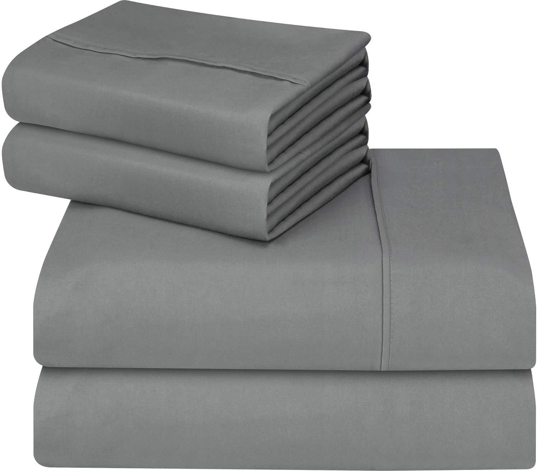 Utopia Bedding 4-Piece King Bed Sheets Set (Grey)
