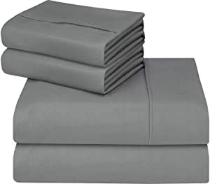 Utopia Bedding 4-Piece King Bed Sheets Set (Grey)