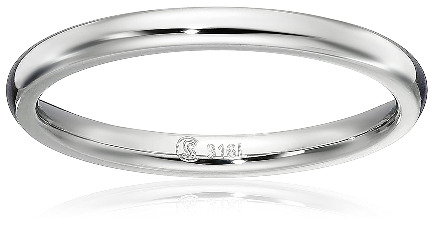 Surgical Steel 2mm Domed Wedding Band Thumb / Toe Ring Comfort-Fit High Polish, sizes 1 - 12 Sabrina Silver
