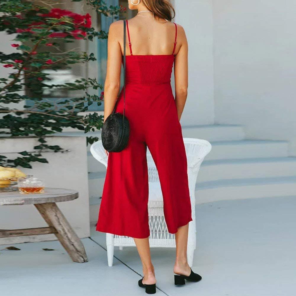 Ladies Fashion Elegant Jumpsuit Women Jumpsuits Elegant Wide Leg Sleeveless High Waisted Summer Pants Red M by GWshop (Image #2)