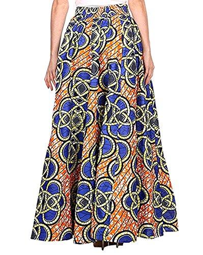 Monique Women Summer Floral Print Pleated Maxi Skirt Adjustable Waist A Line Long Skirt Dress, Blue Orange, One Size from Monique