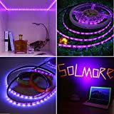 SOLMORE UV Black Lights Led Strip 300 LEDs 16.4Ft/5M 2835 Flexible Waterproof Blacklights Purple Light Night Fishing Sterilization implicitly Party with 48W DC12V 5A Power Supply