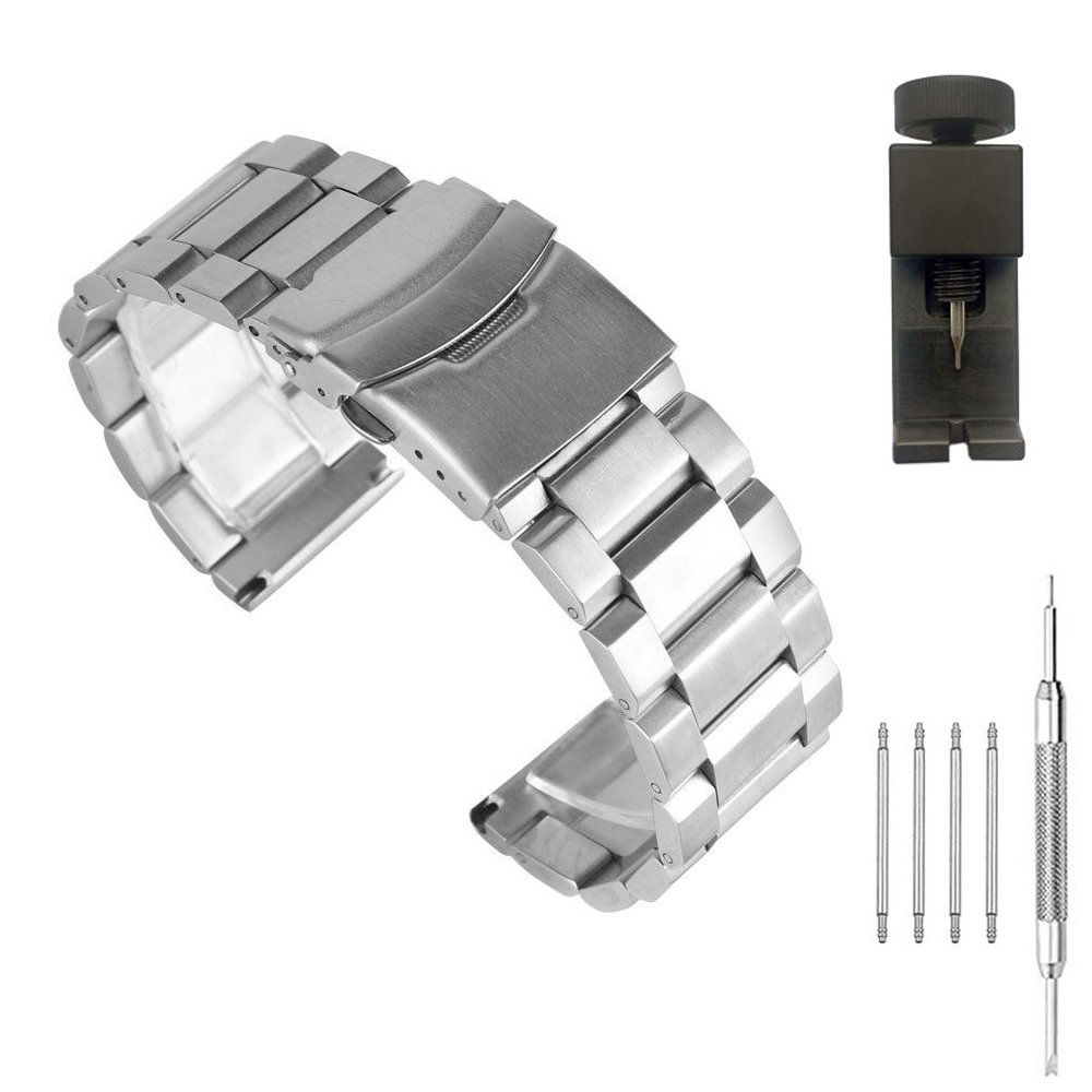 Stainless Steel Watch Band 20mm Brushed & Polished Finish Watch Strap Replacement Bracelet with Fold Over Clasp Double Buckles - Silver