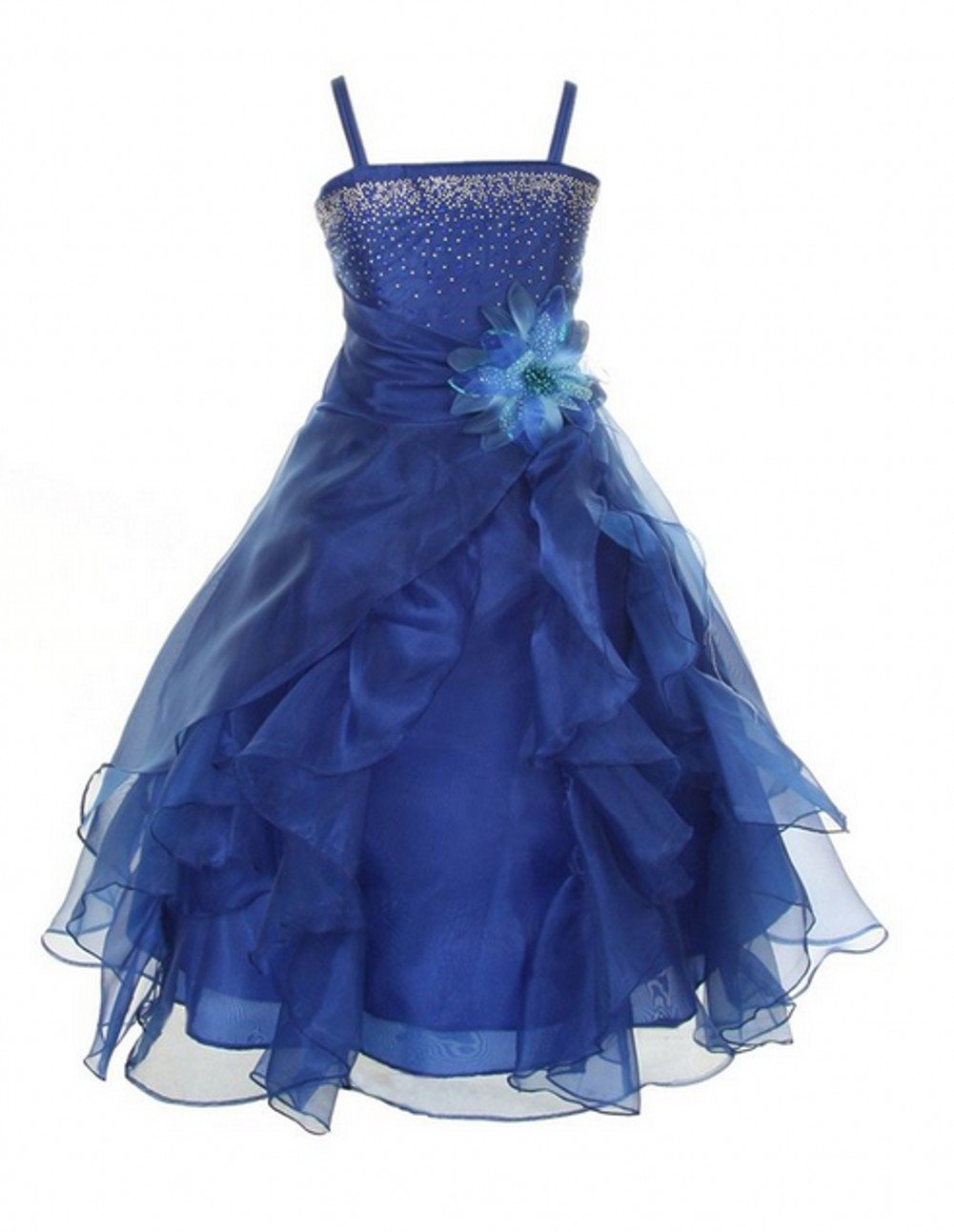 Love Dress Girls Cascading Crystal Organza Rhinestone Party Dress Royal Blue Us 12