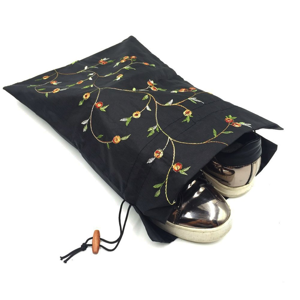 Mmei Set of 3 14'' x 11''(L x W) Flower Design Embroidered Silk Jacquard Travel Bag Underwear Cloth Shoe Bags Pouch Purse (Off-white x 1, red x 1, black x 1) by Mmei (Image #6)