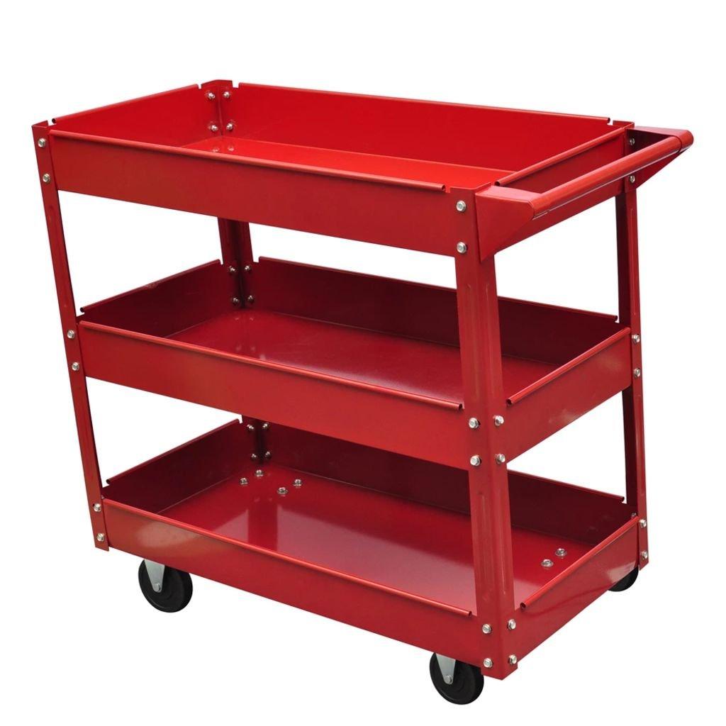 Festnight Carrito de Herramientas con Ruedas con 3 Estantes para Garaje Taller,Construcci/ón de Acero Lacado,100 kg Rojo