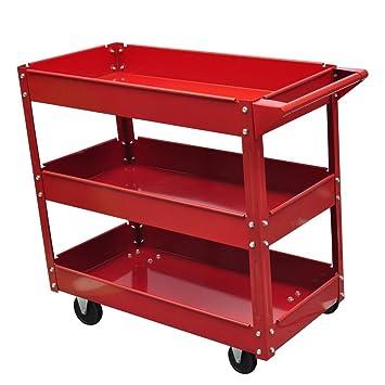 Festnight Carrito de Herramientas con Ruedas con 3 Estantes para Garaje Taller,Construcción de Acero Lacado,100 kg Rojo: Amazon.es: Hogar