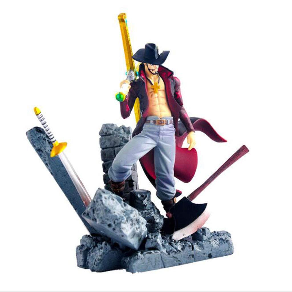 QRFDIAN One Piece Character Crafts Dekoration | Top Kampfmodell King Hawkeye Mihawk | Gliedmaßen bewegliche Charaktere Toys Collectibles | 15cm