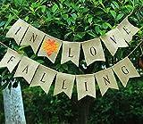 Falling In Love Burlap Bunting Banner, Thanksgiving Decor, Autumn Room Decoration