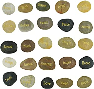 25 Engraved Inspirational Stones with Words of Encouragement – Gold Engraved Stones for Worry Stones, Affirmation Stones, Meditation Stones, Gift Rocks with Inspirational Words of Prayer, Velvet Bag