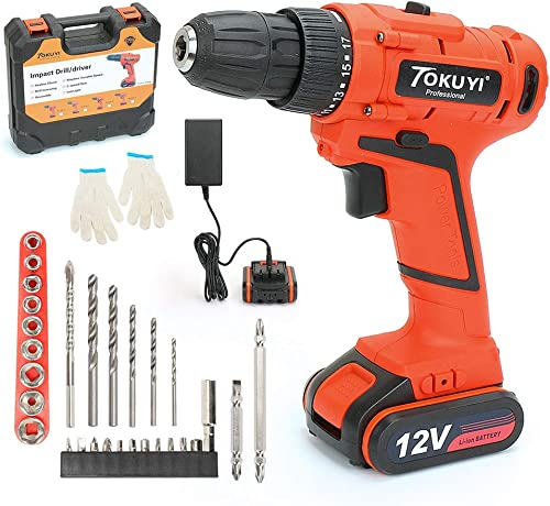 Cordless Drill Driver Kit, TOKUYI 12V Lithium-Ion Impact Hammer Drill Set – 3 8-inch Chuck with LED light, 2-Speed Torque 17 1 Position, 1 Hour Fast Charger, 29pcs Accessories, Battery Included