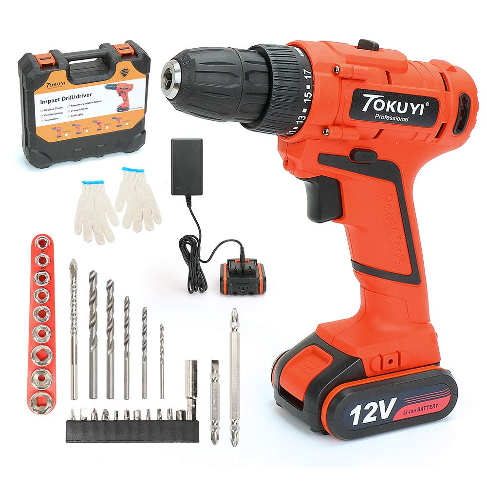 PowerGiant 12V Lithium-Ion Cordless Drill Driver Kit - 3/8-inch Chuck with LED light, 2-Speed Torque 17+1 Position, 1 Hour Fast Charger, 29pcs Accessories, Battery Included