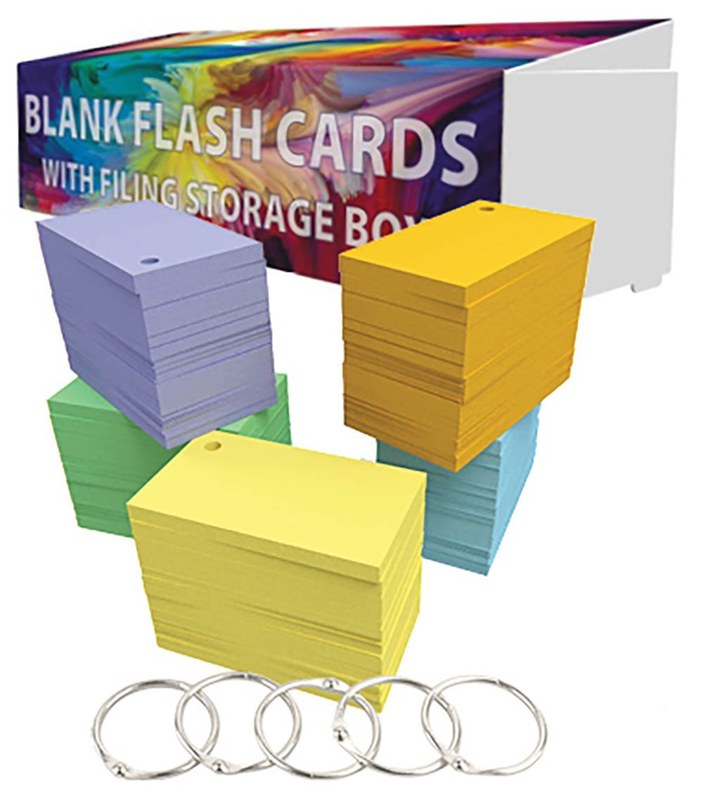 DEBRADALE DESIGNS Small Blank Study Flash Cards - Single Hole Punched - 5 Rings - Economy 67# Vellum Bristol - 3.5'' x 2'' - 5 Colors - 1,100 Note Cards - Storage Organization Travel Box Attached Lid