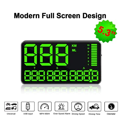 VJOYCAR C90 Digital GPS Speedometers Hud Heads Up Display, 5.3inch Large Screen, with Driving Odometer Overspeed Alarm Fatigue Alert, Universal for All Cars & Auto: GPS & Navigation