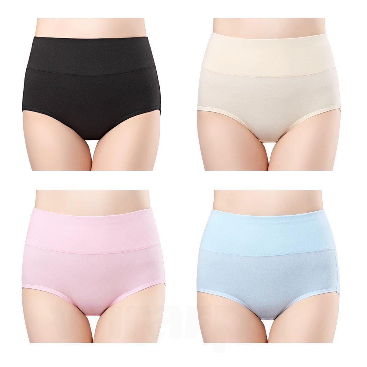 Wirarpa Womens 4-Pack Cotton Underwear Briefs High Waisted Panties Tummy Support W-High Waist Briefs-04