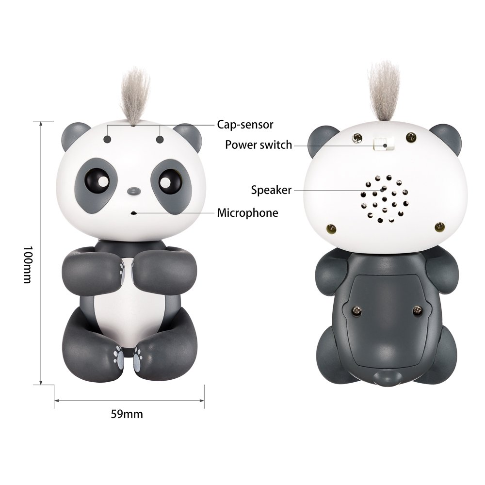 Finger Panda Cute Squirrel Electronic Pet Interactive Toy for Kids, Best Xmas Gift by Moobom (Black)