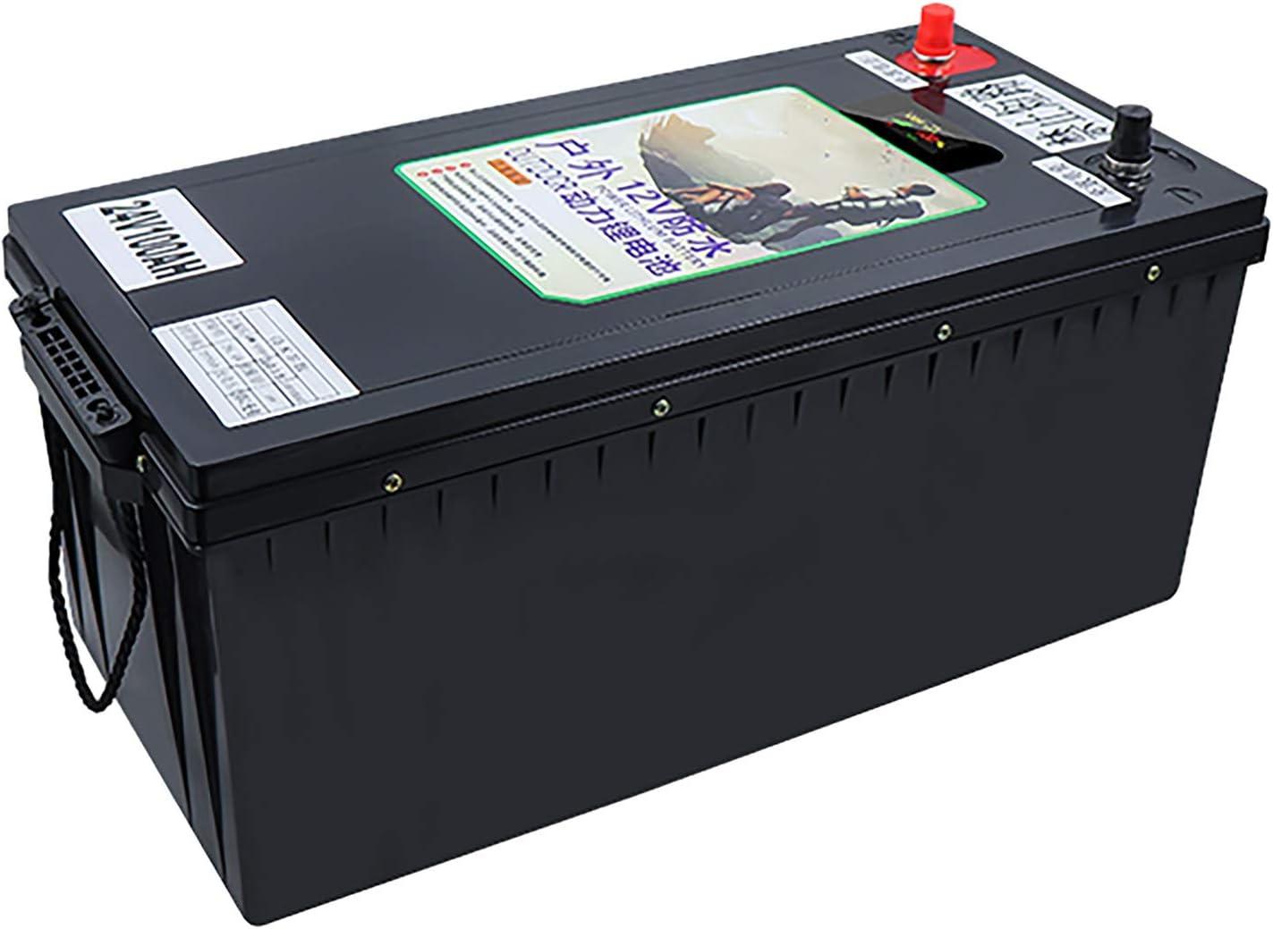 GJZhuan Batería De Fosfato De Hierro Litio LIFEPO4 24V For Sistema Solar/A Motor/Barco/Carros De Golf/RV Coche Batería Impermeable 24V LIFEPO4 Batería LiFePO4 Batería (Size : 100AH)
