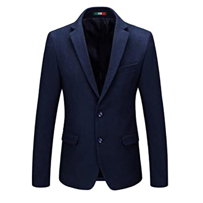 Abetteric Men Solid-Colored 2 Button Pocketed Golilla Suit Woolen Coat