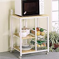 Coaster Home Furnishings 2506 Casual Kitchen Cart, Natural and White