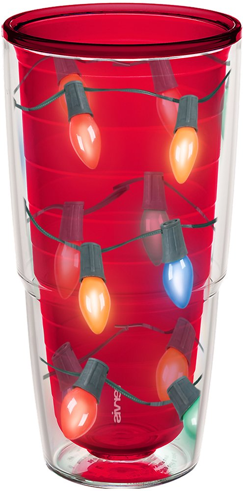 Tervis 1126961 Christmas Lid Red The lights are strung by the tumbler with care in hopes that long-lasting hot drinks will bring cheer They will when theyre served in this festive cup