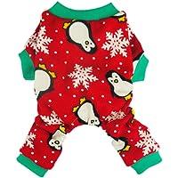 Fitwarm Cute Penguin Xmas Pet Clothes for Dog Pajamas Soft Christmas PJS, Red