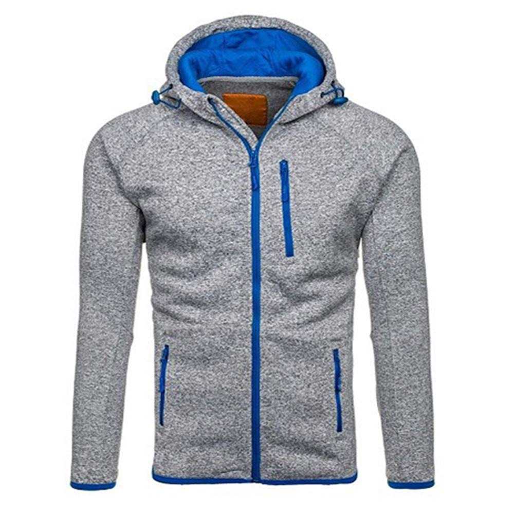 Men Sweatshirts Hoodies Pullover Winter Casual Zipper Long Sleeve Jackets and Coats with Hood Tops Outerwear