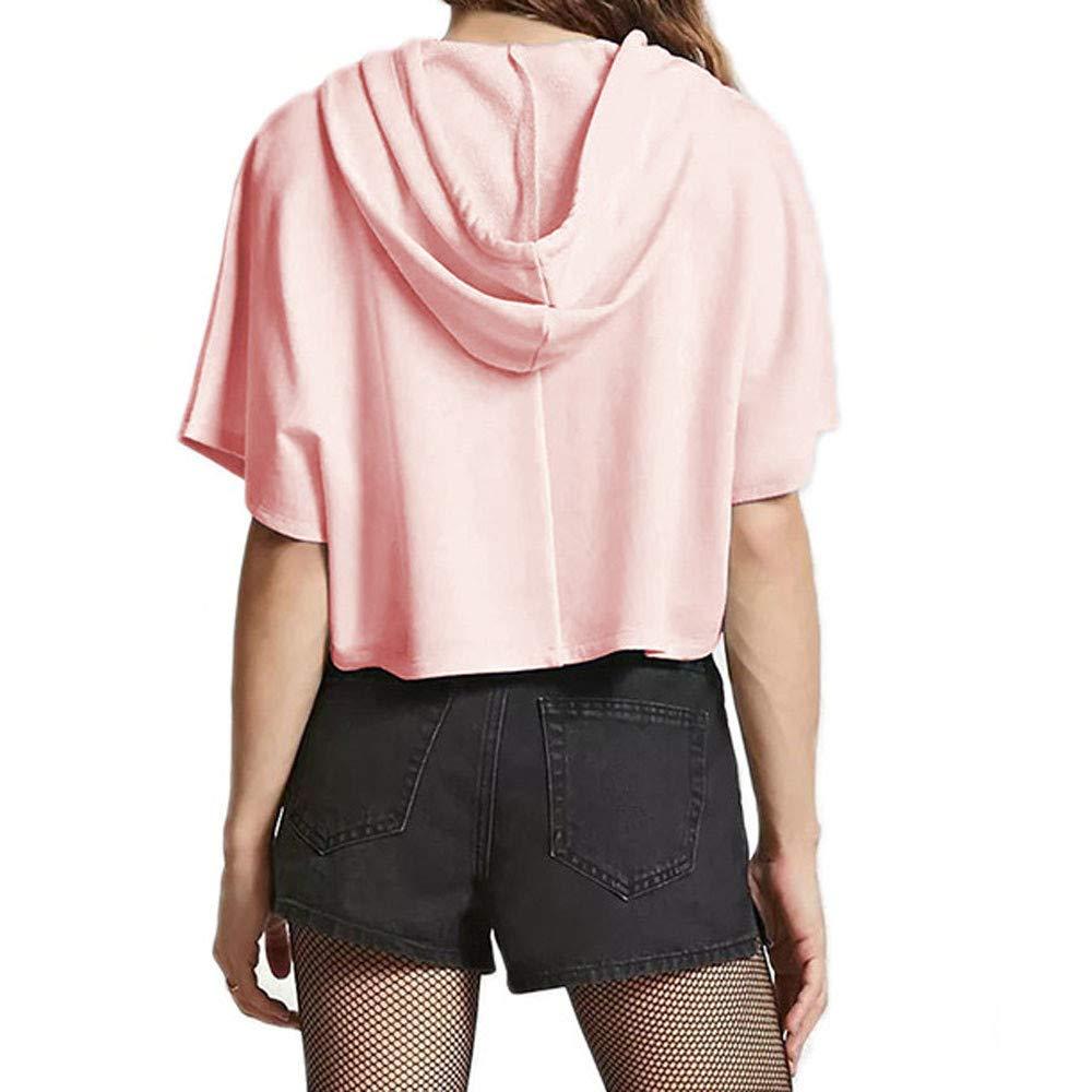 Women Fashion Drawstring Pink Short Sleeve Hooded Casual Crop Top