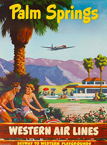 Western Airlines (Palm Springs California Western Airlines Vintage United States Travel Advertisement Art)