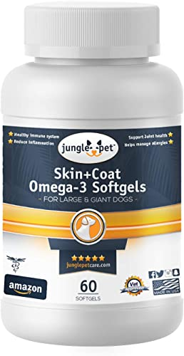 Jungle Pet Skin Coat Omega-3 Softgels – Medium Large Dogs – Skin Coat Gels – with Vitamin E – Fish Oil – Wild Caught Peruvian Anchovies