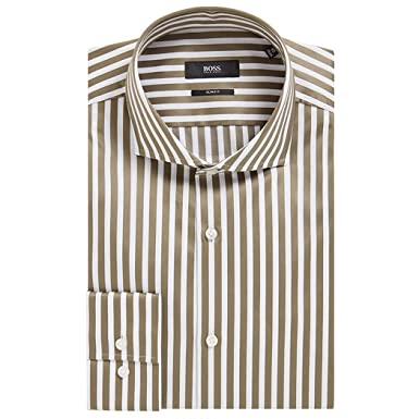 a37074c6 Image Unavailable. Image not available for. Color: Hugo Boss Men's 'Jason'  Dark Green Slim Fit Striped Cotton Dress Shirt ...