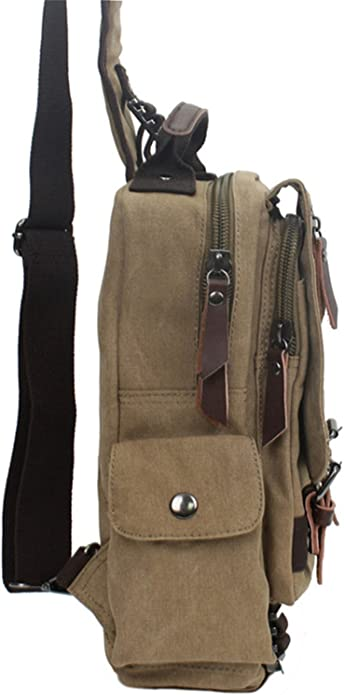Canvas Crossbody Bags Men Women Retro Leather Military Messenger Chest Bag Shoulder Sling Bag Large Capacity Handbag,light blue,Russian Federation