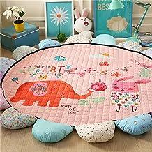 Kids Living Room Rugs,Cartoon Sunflower Design Play Mat,Round Children Creeping Mat Toddler Mat (Elephant)