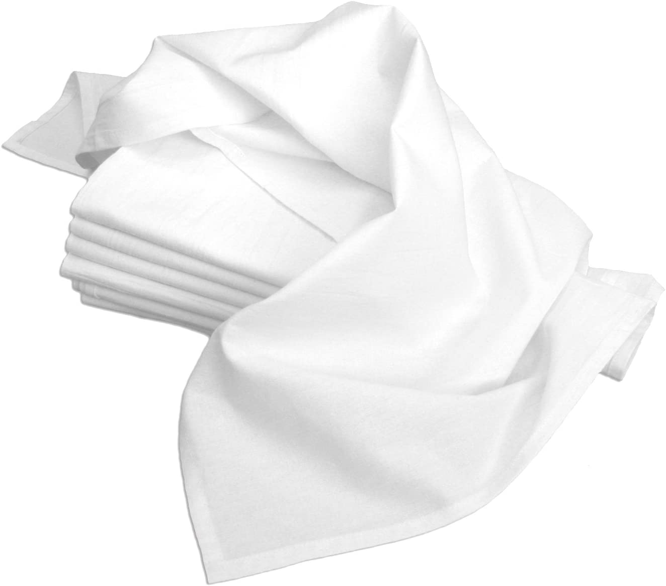 Aunt Martha's 28-Inch by 28-Inch Flour Sack Dish Towels, Premium 130 Thread Count, White, Set of 7