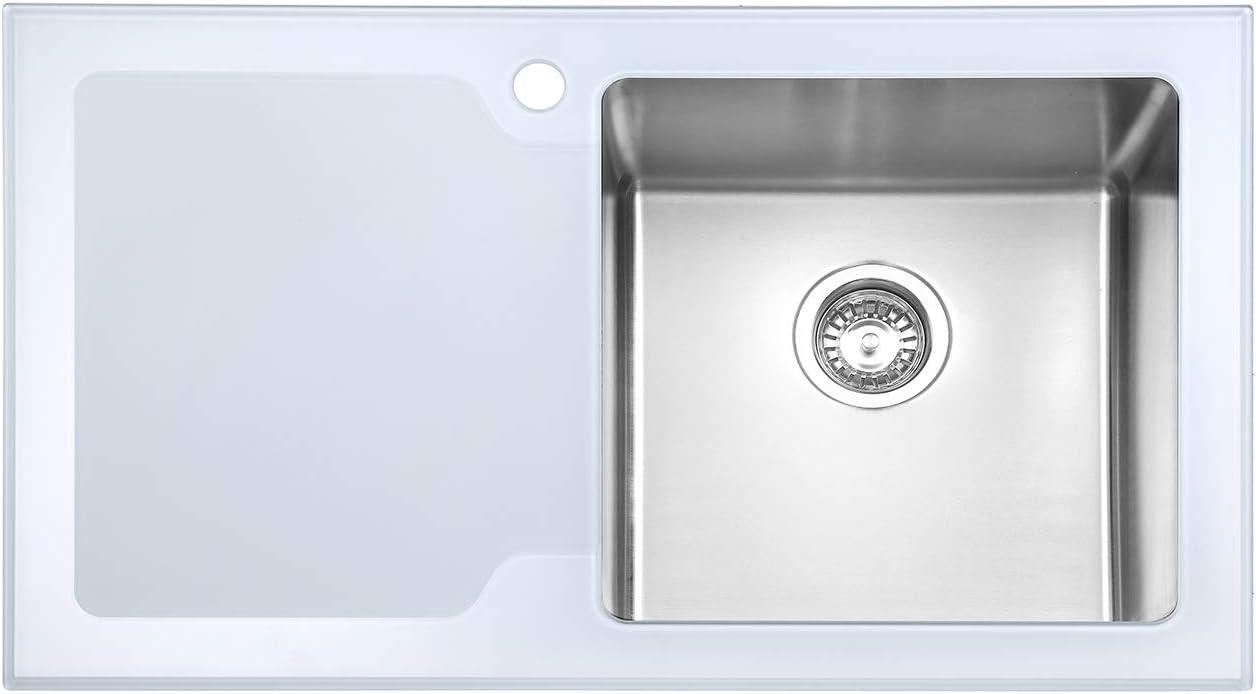 color blanco acero inoxidable, 1 cuenco grande, con colador, 860 x 500 mm JASS Ferry Fregadero de cocina