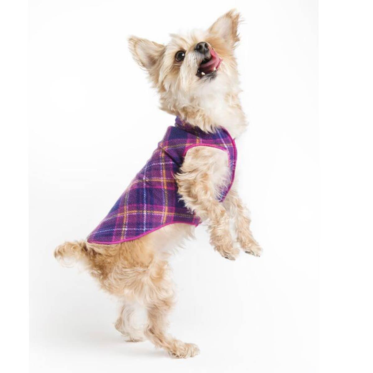 Gold Paw Stretch Blue Fleece Dog Coat - Soft, Warm Dog Clothes, Stretchy Pet Sweater - Machine Washable, Eco Friendly - All Season - Sizes 2-33, Mulberry Plaid, Size 8
