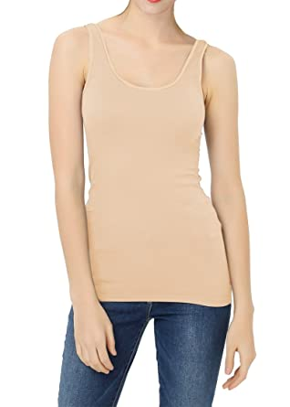8a78ca2f03a8f YTUIEKY Women s Camisole Basic Solid Long Length Spaghetti Strap Nude Cami  Tank Top