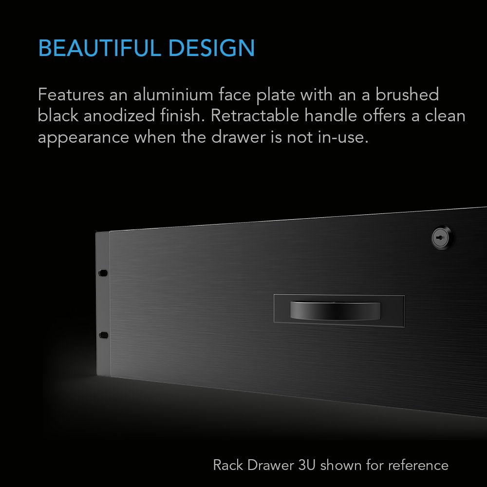 AC Infinity Rack Mount Drawer 2U with Aluminum Faceplate, with Lock and Key, for 19'' Equipment Server AV DJ Cabinets Racks by AC Infinity (Image #3)