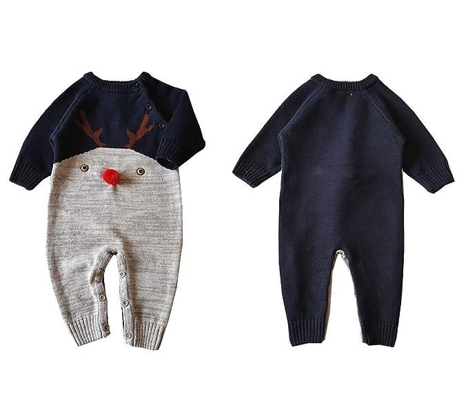 Dizoony Regalo Navidad Bebé Ropa Mameluco Infantil Recién Nacido Monos Peleles Punto: Amazon.es: Ropa y accesorios