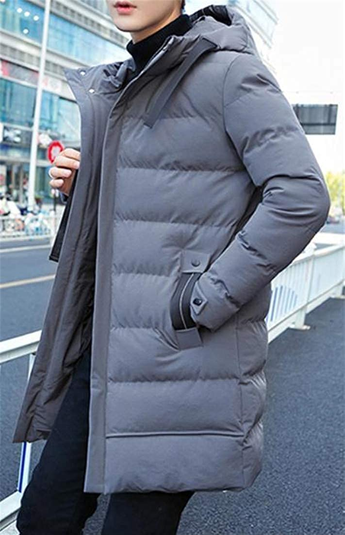 Macondoo Men Quilted Puffer Warm Thicken Hooded Winter Parka Coat Jacket