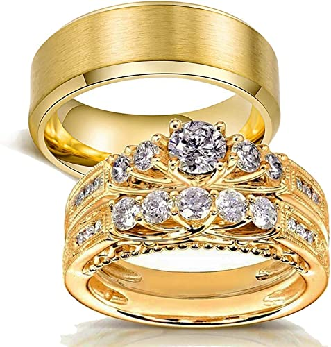 Amazon Com Gy Jewelry His And Hers Wedding Ring Sets Couples Matching Rings Women Yellow Gold Plated Cubic Zirconia Wedding Engagement Ring Bridal Sets Men S Stainless Steel Wedding Band Jewelry