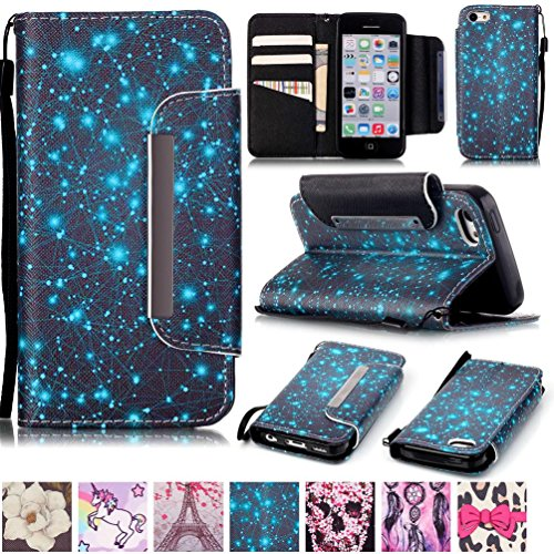 iPhone 5C Case,Firefish [Kickstand Feature][Drop Proof] Durable Leather Folio Style Wallet Case with Anti-scratch Protective Cover for Apple iPhone 5C-Constellation