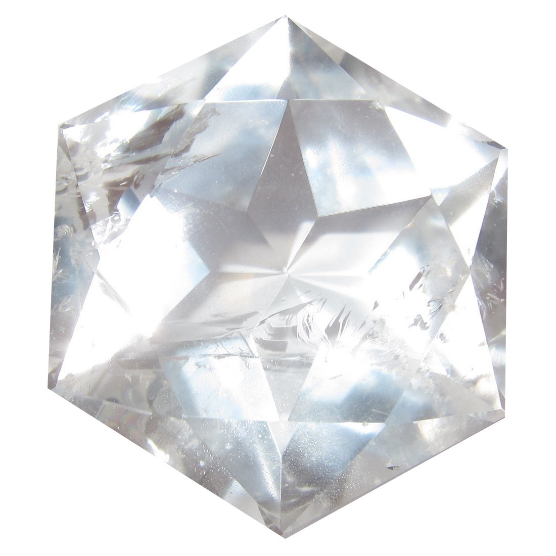 Quartz Polygon Clear 52 Big Crystal Faceted Diamond Star of David Sacred Geometry Healing Stone Brazil 2.5''