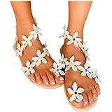 Padaleks Women's Flower Rhinestone Gladiator Sandals Summer Flats Bohemian Flip Flops Clip Toe Beach Dress Shoes