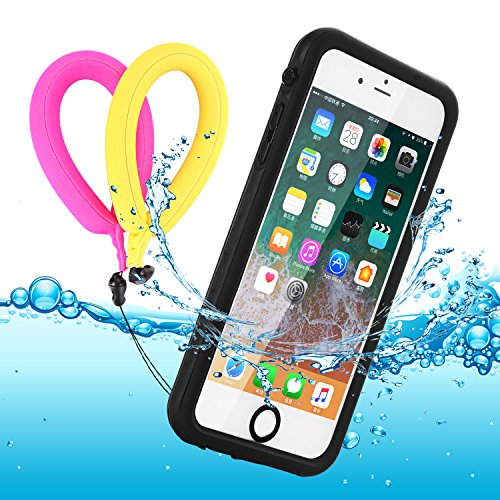 Waterproof Case iphone 7 plus/8 Plus Clear with 2 Float Straps and Fisheye lens Neck Lanyard GUYO Swimming Cover with Touch ID Clear Sound and Touch Screen with IP68 Case (Black transparent)