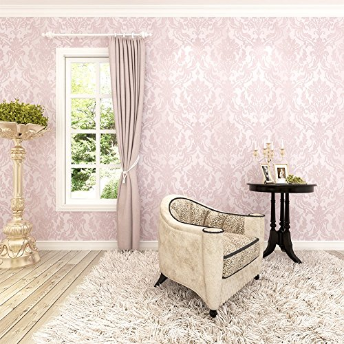 HANMERO 10m Classic Nonwoven Glitter Flocking Textured Damask Wall Paper Roll for Bedroom Living Room Pink]()