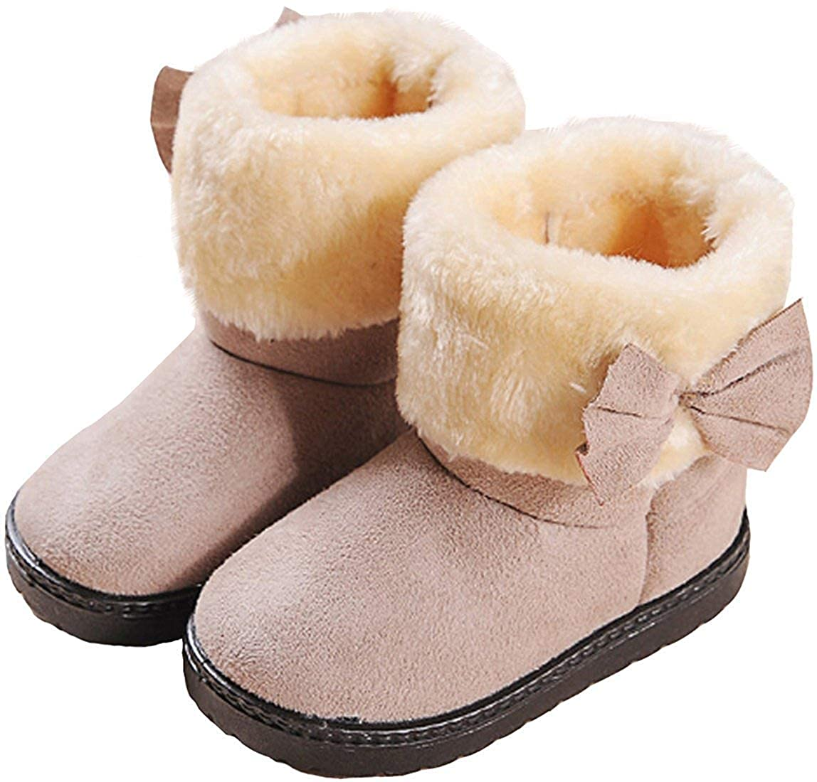 Toddler//Little Kid MOREMOO Girls Lovely Bownot Suede Fur Inner Snow Boots