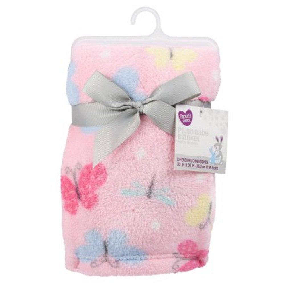 Infant Girl Plush Blanket Butterflies Smooth Top Plush Fleece Back Machine Wash