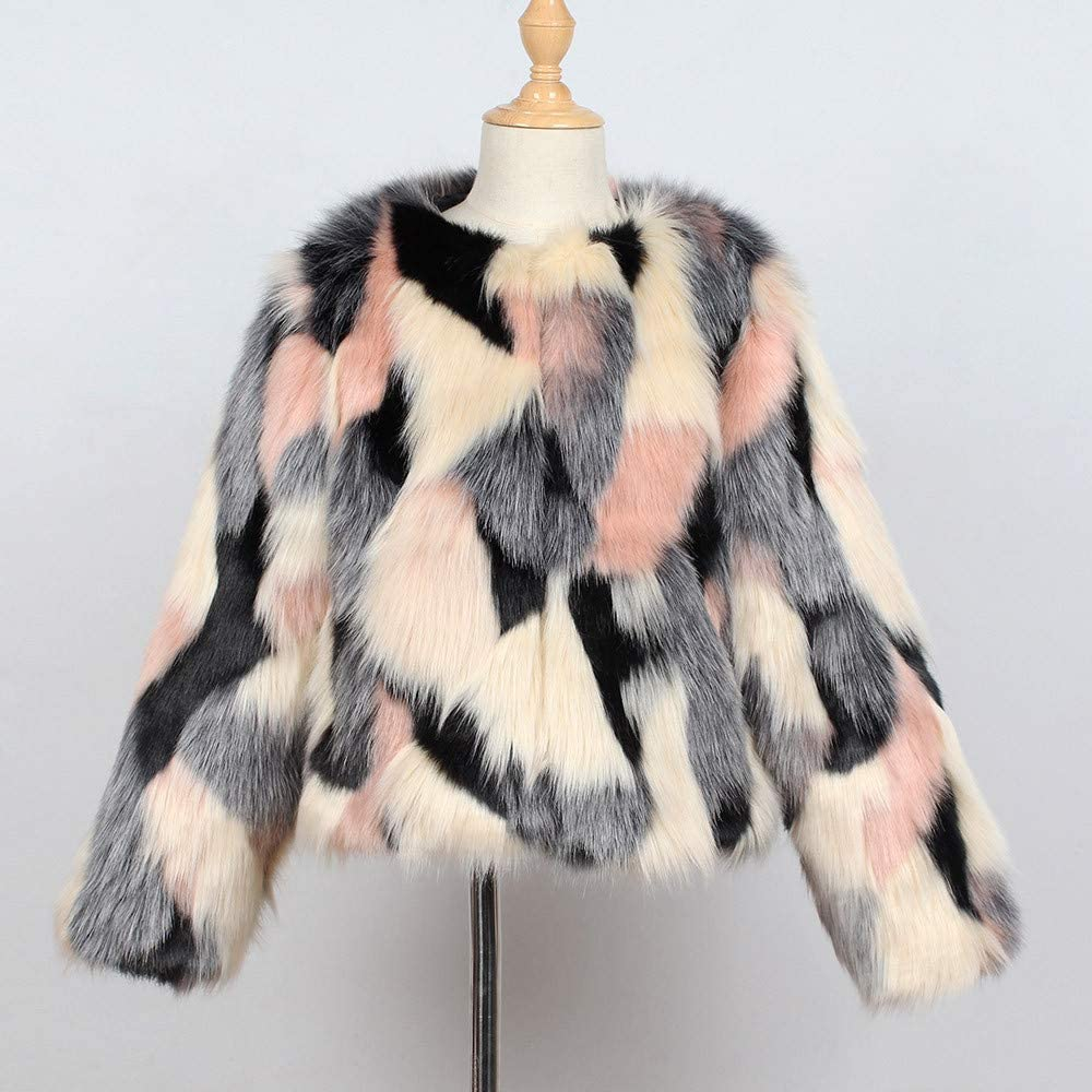 GorNorriss Baby Girl Coat Toddler Kids Fashion Colorful Winter Warm Clothes Faux Fur Thick Solid Outwear