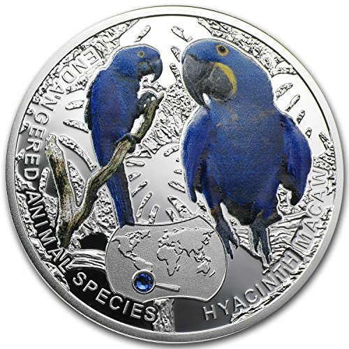 2014 PL Niue Proof Silver Endangered Animal Species Hyacinth Macaw Silver Brilliant Uncirculated