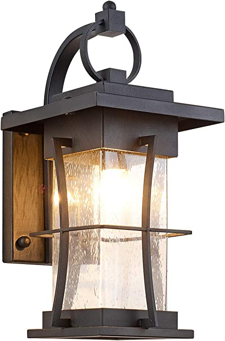 Waterproof Outdoor Wall Sconce Light fixtures,Exterior Wall Sconce Lamp,Black Metal with Clear Bubble Glass, Perfect for Exterior Porch Patio House